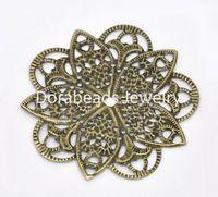 Wholesale Bronze Tone Filigree Flower Wraps Connectors mm B14168
