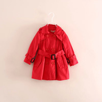Cheap Hot Selling Girls Ruffle Pleated Overcoat Double-breasted Button Windbreak Long Sleeve Red Dust Coat Classics Waistband Topcoat SZ0085
