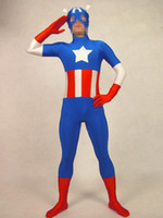 Wholesale Captain America Super spandex tights full coating performance clothing props Halloween costume party dress costume movie hero costume zentai