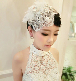 Luxury White Crystal Lace Bridal Hats Beading Bridal Hair Accessories Tassels Pearls Flower Hair Accessories Hair Clips For Weddings