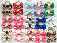 Wholesale Handmade Designer Dogs accessories pet Dog Bows Dog Grooming Hair Bows with elastic band Doggie BoutiquePet Gifts