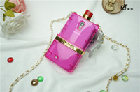 Wholesale New Lipstick perfume bottle mobile phone case for iPhone G S With leather and metal chain
