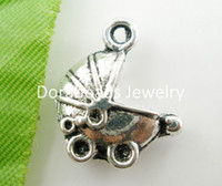 Cheap Free Shipping! 20 PCs Antique Silver Baby Carriage Charms Pendants 16.6x14.4mm (B03553)