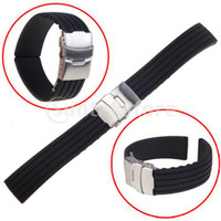 Wholesale 2014 luxury watches Black Silicone Rubber Watch Strap Band Deployment Buckle Waterproof mm