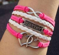 Gift best sister bracelets - Sister bracelets Infinity and heart to heart charm leather bracelet in Silver Pink White Braid Leather Bracelet Best Gift