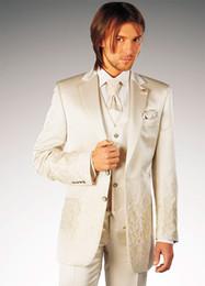 Wholesale Hot New Ivory Groom Tuxedos Best Man Suits Groomsmen Men Wedding Suits Jacket Pants Vest Tie