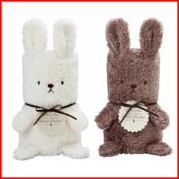 Wholesale Fedex High Quality CM Coral Fleece Baby Cartoon Rabbit Hooded Sleeping Bag Kids Bath Towel Baby Kids Blanket Gift