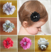 fabric flowers - Hot sale Chiffon flower hair clips Handmade fabric pearl Rhinestone flower Hair Accessories colour Baby hairpin