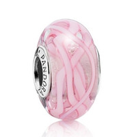 Cheap 925 Sterling Silver Pink Ribbon Murano Glass Charm Bead Pandora Style Jewelry