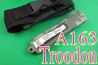 Wholesale 2014 Newest microtech A163 OTF knife double fine with Serrated Laser tattoo blade Best pocket sruvival knives best thanksgiving gift L
