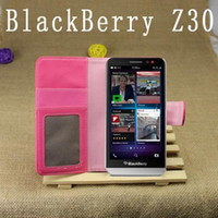 Cheap 10pcs free shipping Litchi grain Wallet Leather Case ID Credit Card Holder Stand Flip Case Cover for BlackBerry Z30