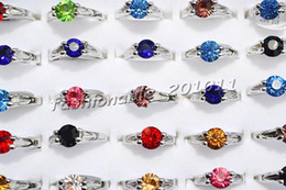 FREE wholesale jewelry mixed Colorful Rhinestone Silver Plated Woman Rings 16-19mm #R11