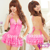 Sexy Costumes People Sexy Sexy Lingerie Spring summer Sexy and the home fashion clothing pajamas bathrobe female Lace V-neck sexy lingerie pajamas QX0018