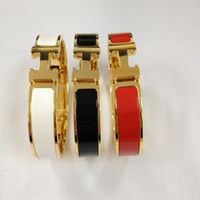 Wholesale Fashion H style Stainless steel Silver Gold Rose Gold bracelet bangle with black white red orange Enamel clasp buckle for women