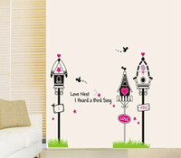 Removable PVC Plant Creative kindergarten children room sitting room background wall stickers Love birdcage bedroom decorate wallpaper
