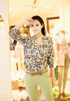 Cheap New 2014Chiffon love Blouse Women Long Sleeve F Print Shirt Women Clothing Blusas Femininas Dudalina Free Shipping060104