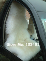 Wholesale 2pcs Long Hair Sheepskin Car Seat Covers CA white