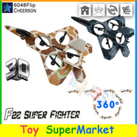 Cheap RC Remote Control Toys Quadcopter Helicopter 3D Rolling Glider EPO Warplane 4CH with 6-Axis Gyro Ar. Drone 6048F F22 Fighter