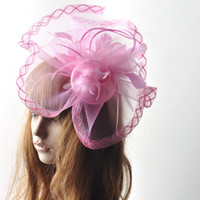 Pink Handmade Headwear Barrettes rosa señora formal fascinator sombrero de malla de plumas hairpiece clip razas gallinas de baile