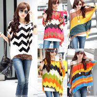 Cheap Korea Style 2014 Loose Stripe Shirt Sexy Womens Batwing Dolman Sleeve Chiffon Shirt Bohemian Tops Oversized Blouse SV000375
