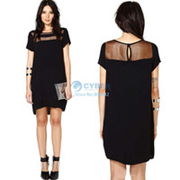 Cheap 2014 spring summer new women clothing lace short sleeve Black chiffon sexy see through casual dress Plus size b14 SV005204