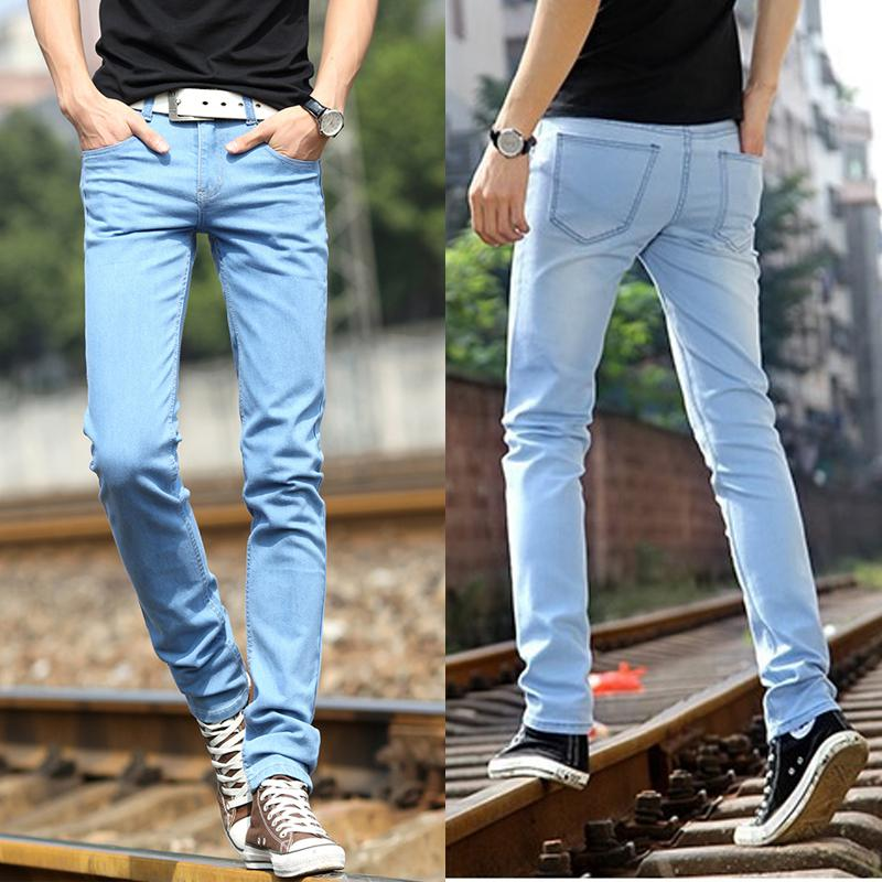 2017 Light Blue Jeans For Men High Quality Fashionable Slim Fit