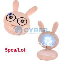 Cheap 5pcs Lot Lovely Pink Mini Rabbit Shape Folding Up LED Desk Lamp Table Lamp Free Shipping 4734