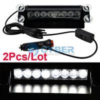 Wholesale 2Pcs LED White Car Truck Dash Strobe Emergency Deck Warn Light Flashing Modes V