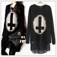 Cheap 2014 women fashion t-shirts ladies casual t-shirt Punk cross print chiffon Panelled outwear Coats upper garments women's clothing XD002