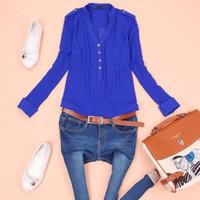 Cheap New 2014 ChiffonBlouse Women's Long Sleeve Solid Color Shirt Women Clothing Blusas Femininas Dudalina Tops For Ladies