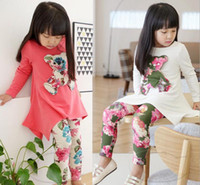 Cheap Quality Children Fall Clothing Fashion Flower Floral 3D Bear Dress + Leggings 2pcs Girl Suit Cotton Kids Dress Set Child Wear GX764