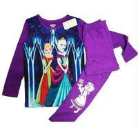 fashion pajamas - Anna Elsa Children Girls Cotton Pajamas Sleepwear Suit Princess Cartoon Printing High Quality Fashion Clothing Pants Purple Sets E0374