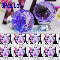Cheap 8Pcs Lot 30mm Glass Crystal Round Cabinet Knob Drawer Pull Handle Kitchen Door Wardrobe Hardware Purple TK0737