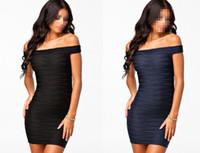 Wholesale New Sexy Fashion Unique Streaks Off shoulder Navy Bodycon Dress O Neck Low price Black Navy B4467