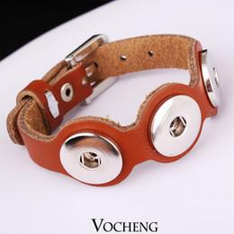 2017 bracelet en cuir véritable VOCHENG NOOSA Bracelet en cuir véritable Ginger Snap Bijoux 2 couleurs réglables Bouton clip de bloc de montre Vb-008 bon marché bracelet en cuir véritable