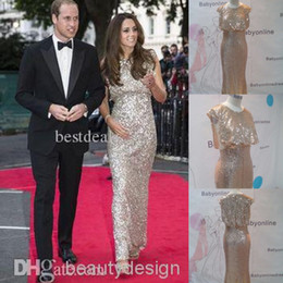 Wholesale Nobel silver blingbling full sequins Kate Middleton celebrity carpet dresses bateau sleeveless floor length sheath evening prom gowns BO3936