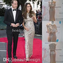 Wholesale Nobel silver blingbling full sequins Kate Middleton celebrity carpet dresses bateau sleeveless floor length sheath evening prom gowns BO3936