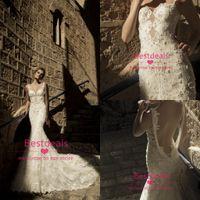Wholesale backless lace mermaid wedding dresses new Galia Lahav spaghetti Pearl Beaded Chapel Train Beach Wedding Dresses GL1411