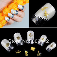 Cheap Wholesale 24Pcs Lot Tiny Mixed Design Nail Art Decoration Acrylic Tips Metal Slice Nail Sticker Wheel Gold New Free Shipping