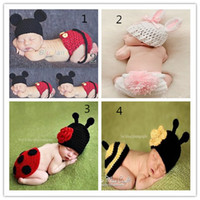 Cheap 4 Designs For Choose New 2014 Infant Newbron Cartoon Knitted Handmade Ca Costume Crochet Bunny Inseat Baby Girls Boys Photography Set A012