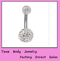 belly button earrings - Belly button ring B03 clear color mm Shamballa Body Piercing Belly Piercing Can Be Earrings Stainless Steel With Crystal