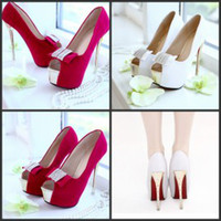 Cheap Bridal Sandals Peep-Toe White Red Wedding Shoes High Heel Stiletto Heel Ankle Boot Cut-Outs Wedge Prom Evening Party Cocktail Shoes with Bow