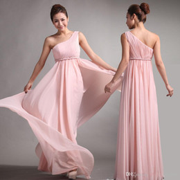 Wholesale 2016 pink chiffon new Bridesmaid Dresses Sweet princess Greek Style Goddess One shoulder Bare Pink Party Dress pleats Discount Prom Dresses
