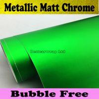 Wholesale Flexible Chrome Metallic Green Matt Chrome Vinyl Wrap Car Wrap Film with Air Bubble Free Car Stickers Foile x20m Roll
