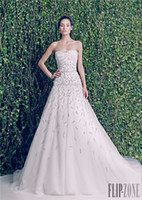 Cheap Gorgeous Zuhair Murad Beads A-Line Wedding Dresses Strapless Sleeveless Chapel Train Tulle Bridal Gown 2014-2015