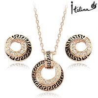 Wholesale Real Italina Rigant Genuine Austria Crystal K Real Gold plated Jewelry Set for women Elegant Geometry RG20011
