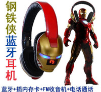 Wholesale 201407H Fashion cool new magic sound headphones Iron Man Card FM Bluetooth headset
