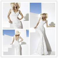 Cheap Boho Girl 2014 Mermaid V-Neck Sleeveless Backless Sweep Train Chapel White Bridal Wedding Dress With Bow