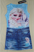 Cheap Wholesale - Free Shipping cartoon frozen snow skirt Kids' Clothes romantic cartoon copy denim skirts 2 years to 7-year-old girl