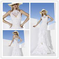 Cheap 2014 Boho Girl Mermaid High Neck Sleeveless Back Zipper Sweep Train Tiered Chapel White Bridal Wedding Dress